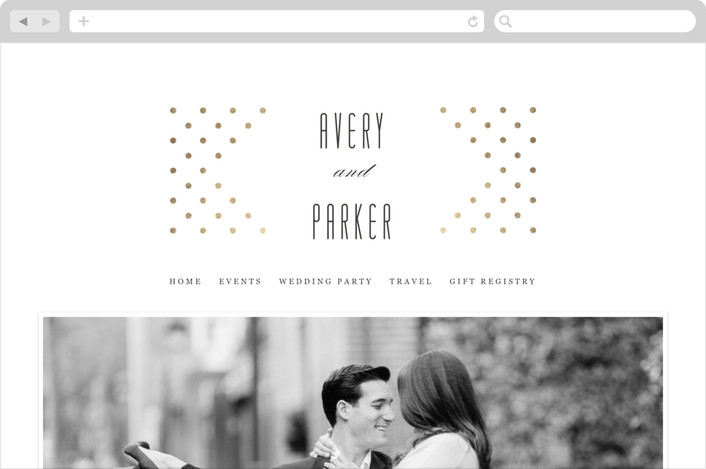 """Polka Dot Elegance"" - Wedding Websites in Gold by Kimberly Morgan."