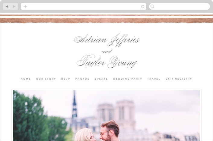 """Deckled Edge"" - Wedding Websites in Rose Gold by Eric Clegg."