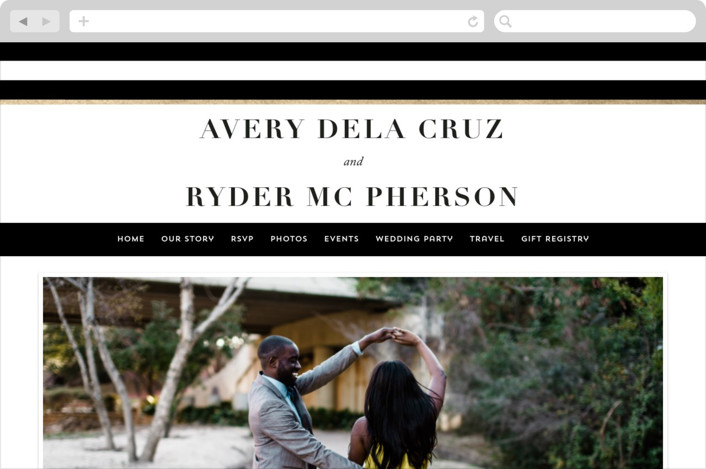 This is a black wedding website by Hooray Creative called Editorial chic printing on digital paper.