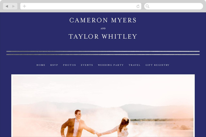 This is a blue wedding website by Fig and Cotton called Gold Bars printing on digital paper.