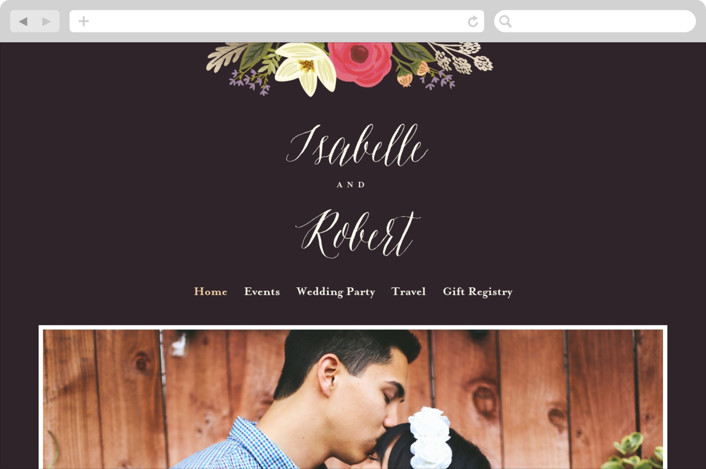 This is a pink wedding website by Griffinbell Paper Co. called Rhapsody printing on digital paper.