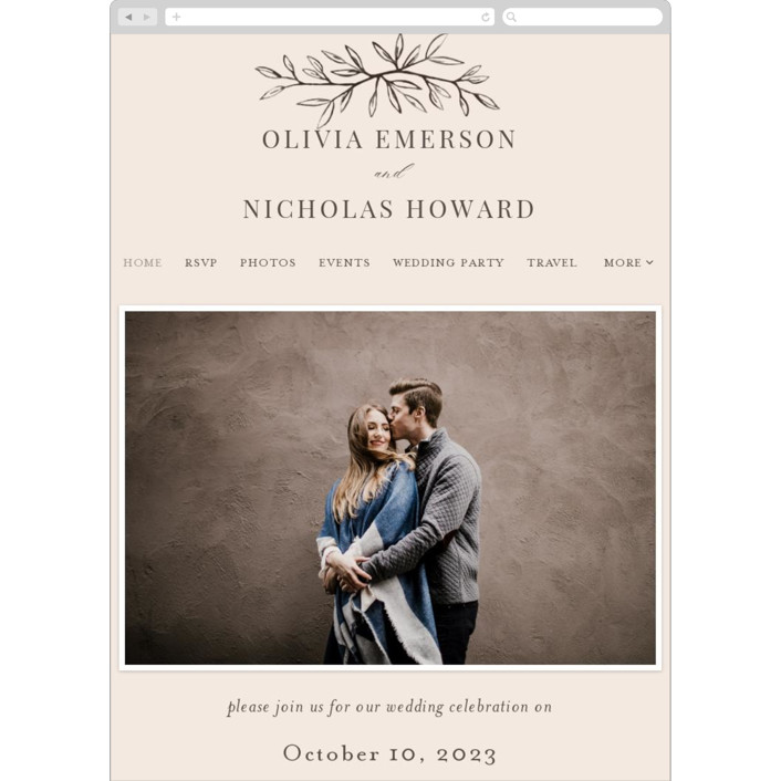 """Leafy Branch"" - Wedding Websites in Latte by Katherine Moynagh."