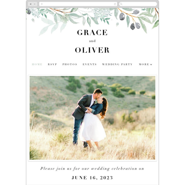 """Olivier"" - Wedding Websites in Olive by Bonjour Paper."