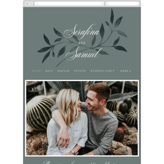 This is a green wedding website by Melanie Kosuge called Serafina printing on digital paper.