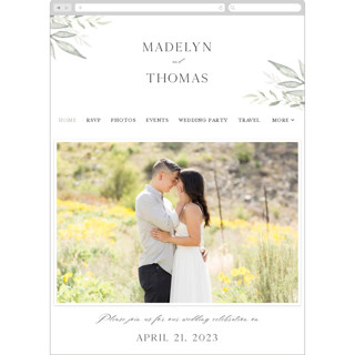 This is a white wedding website by Carolyn Nicks called Sweeping printing on digital paper.