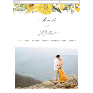 This is a yellow wedding website by Susan Moyal called Organic Florals printing on digital paper in standard.