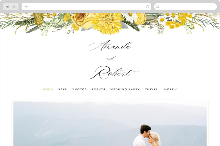 This is a yellow wedding website by Susan Moyal called Organic Florals printing on digital paper.