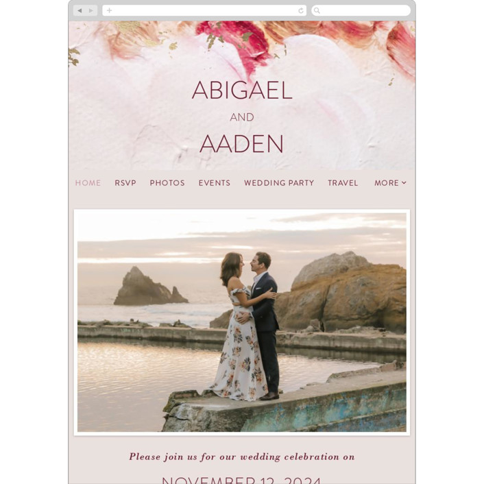 """Warm Love"" - Wedding Websites in Wine by Lucrecia."
