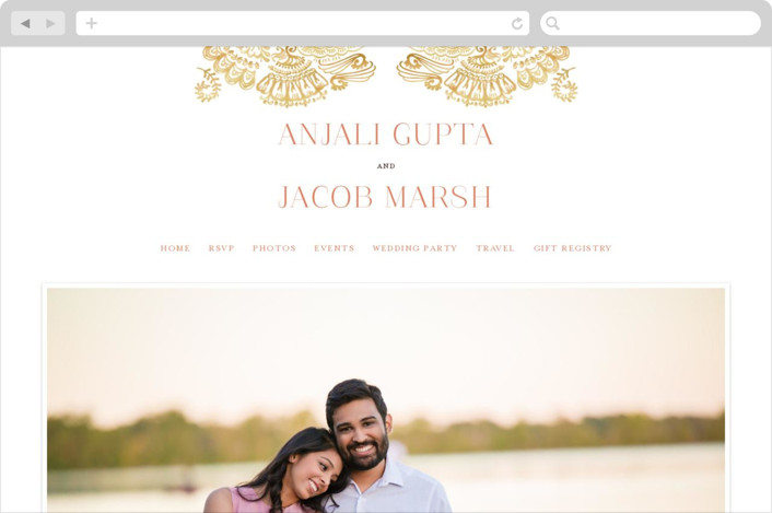 """Modern Mehndi"" - Modern Wedding Websites in Gold by Laura Condouris."