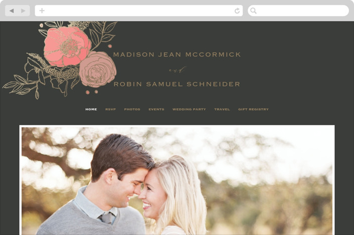 """""""Floral Sprigs"""" - Wedding Websites in Coral by CaroleeXpressions."""