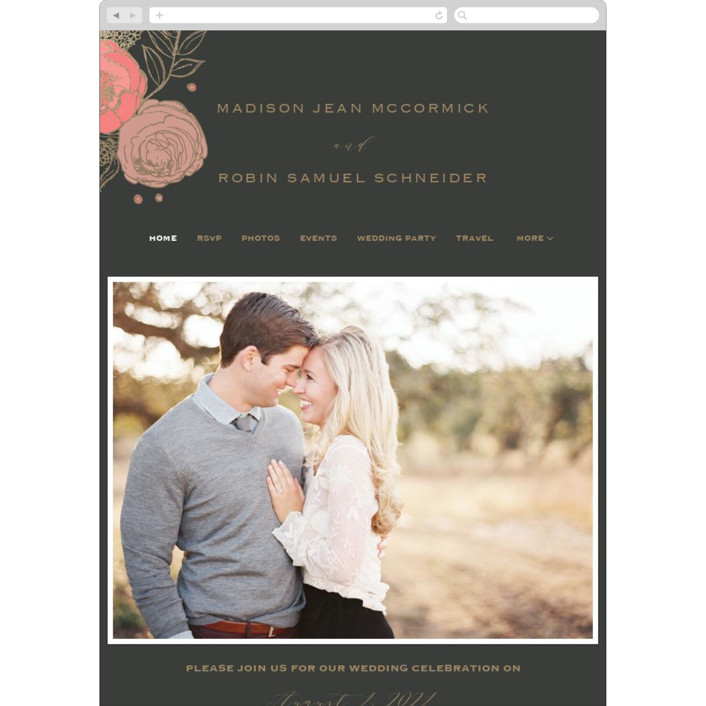 """Floral Sprigs"" - Wedding Websites in Coral by CaroleeXpressions."