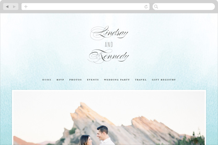 This is a blue wedding website by Roxy Cervantes called Ombre printing on digital paper.