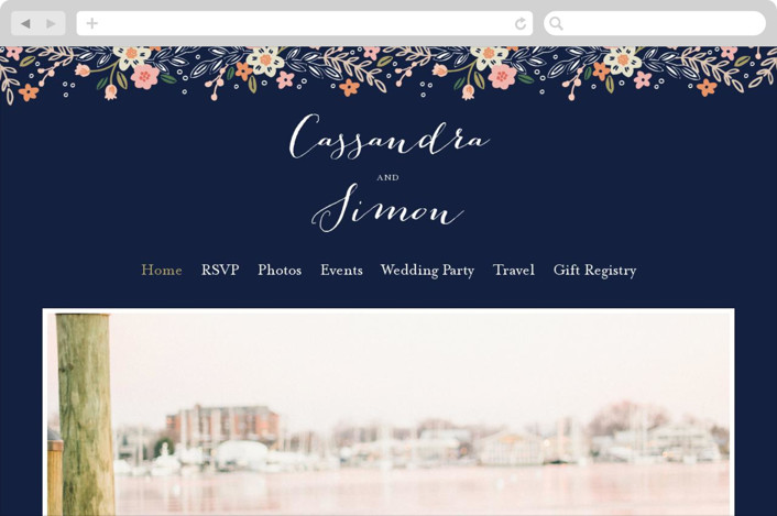 """Wildflower Crest"" - Wedding Websites in Navy by Alethea and Ruth."