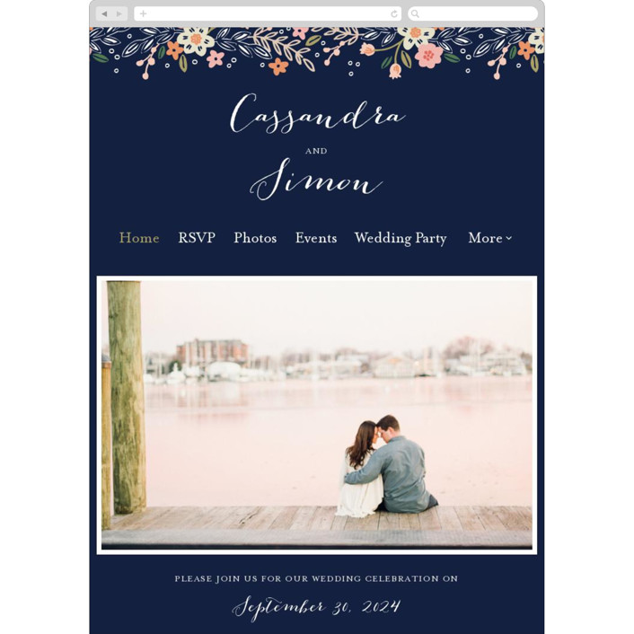 """""""Wildflower Crest"""" - Wedding Websites in Navy by Alethea and Ruth."""