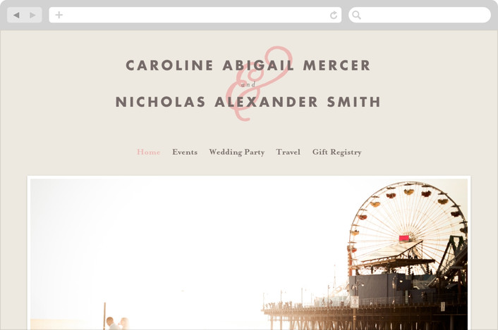 """Delicate Ampersand"" - Wedding Websites in Blush by Olivia Raufman."