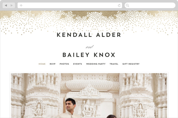"""Sparkling Celebration"" - Wedding Websites in Gold by AK Graphics."