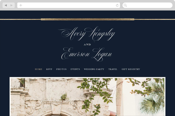 This is a blue wedding website by Little Words Design called Cambridge printing on digital paper.