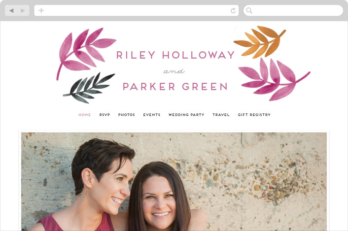 """Bright Leaves"" - Wedding Websites in Fuchsia by Katharine Watson."
