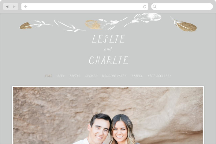 This is a white wedding website by Baumbirdy called Dipped Feathers printing on digital paper.