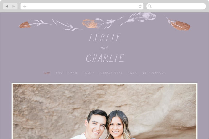This is a colorful wedding website by Baumbirdy called Dipped Feathers printing on digital paper.