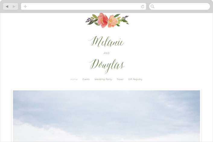 """""""Watercolor Floral"""" - Floral & Botanical Wedding Websites in Olive by Yao Cheng Design."""