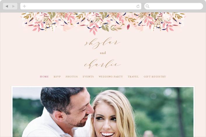 """""""Fantasy Floral Bride"""" - Wedding Websites in Blush by Phrosne Ras."""