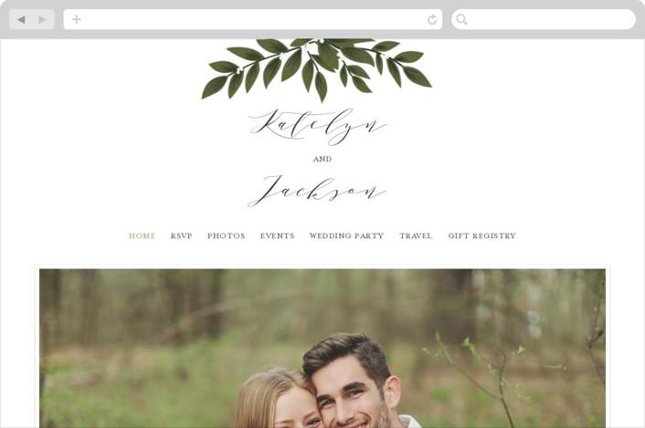 """""""Laurels Frame"""" - Wedding Websites in Greenery by Itsy Belle Studio."""