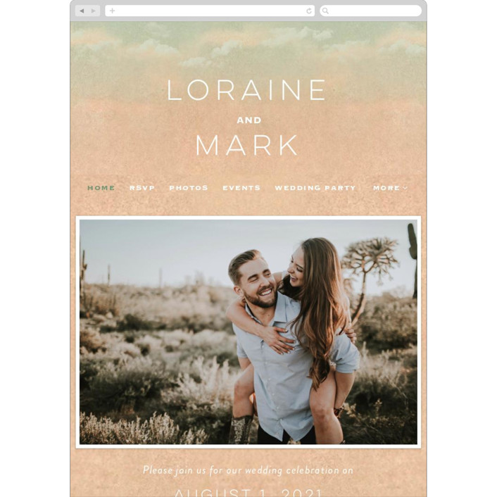 """""""Postcard from the Desert"""" - Wedding Websites in Sunset by Pink House Press."""
