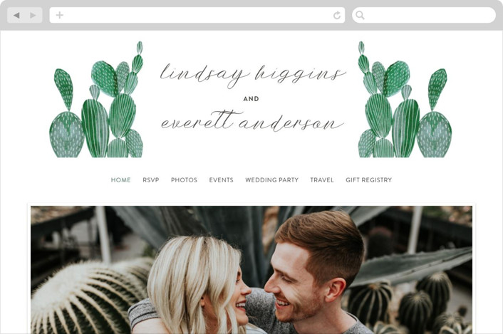 This is a green wedding website by Olivia Raufman called Painted Cacti printing on digital paper.