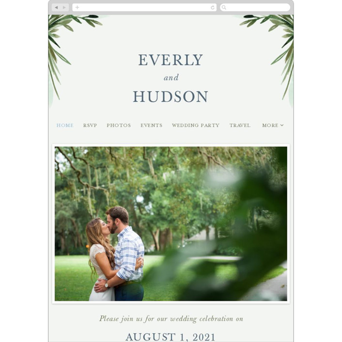 """Botanical Frame"" - Wedding Websites in Fern by Kate Ahn."