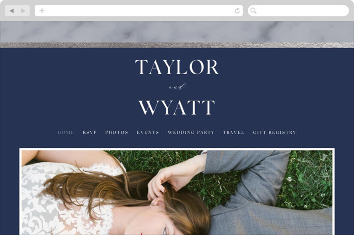 This is a blue wedding website by Carolyn MacLaren called Marble Marriage printing on digital paper.