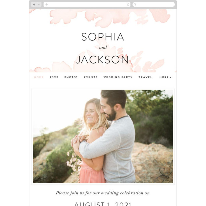 """Ethereal Bouquet"" - Wedding Websites in Blush by Petra Kern."