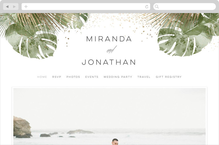 This is a gold wedding website by shoshin studio called Palm Springs printing on digital paper.