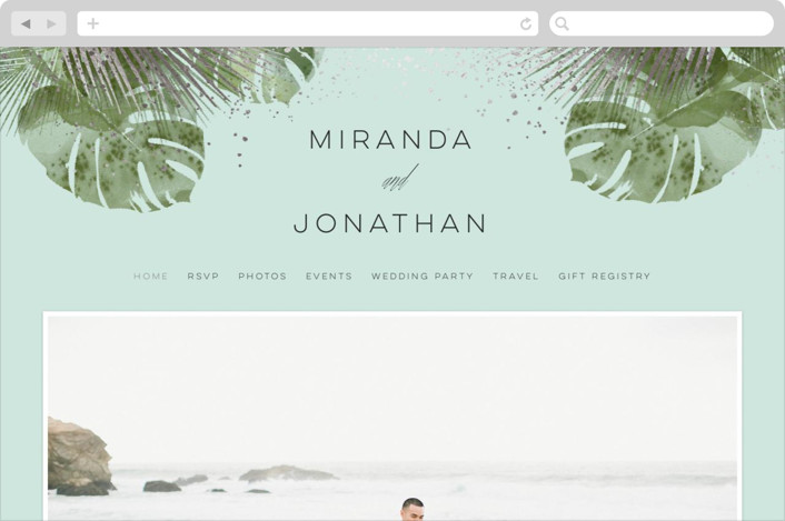 This is a blue wedding website by shoshin studio called Palm Springs printing on digital paper.