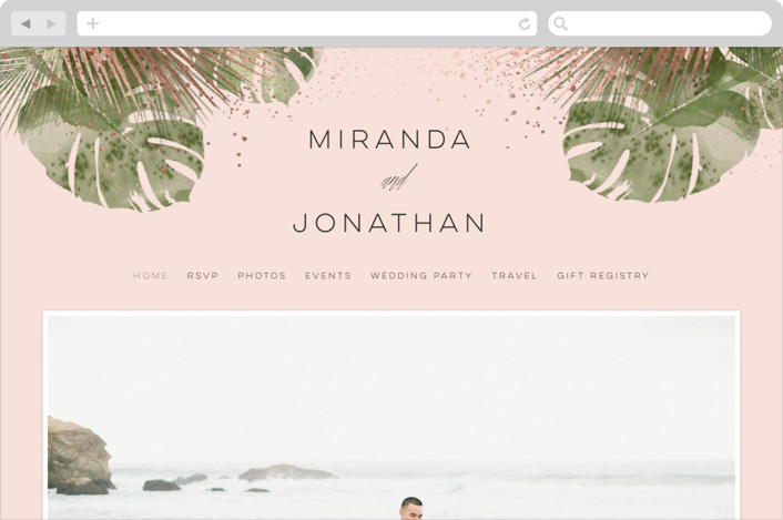 This is a pink wedding website by shoshin studio called Palm Springs printing on digital paper.