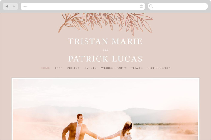 """Foiled Branches"" - Wedding Websites in Poppy by Katharine Watson."