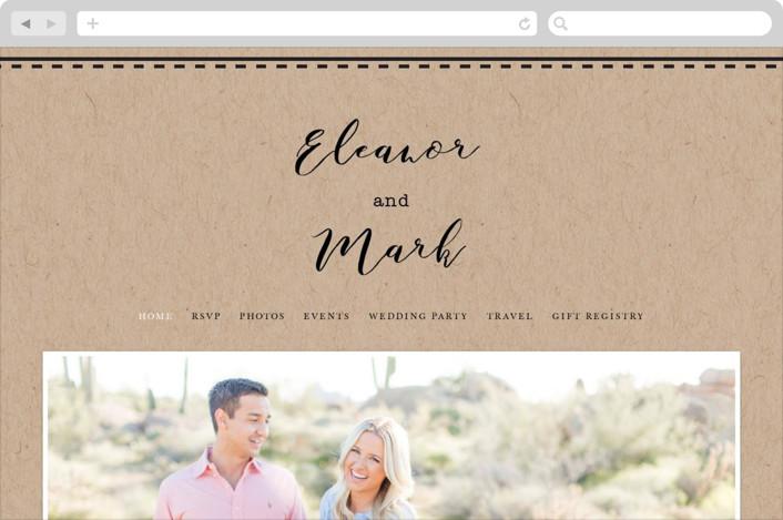 This is a brown wedding website by Hudson Meet Rose called Wedding Stamp printing on digital paper.