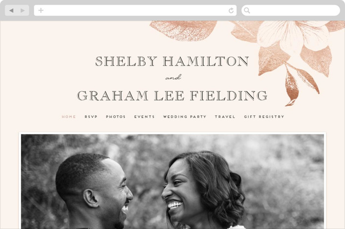 """The Land of Magnolias"" - Wedding Websites in Blush by Design Lotus."