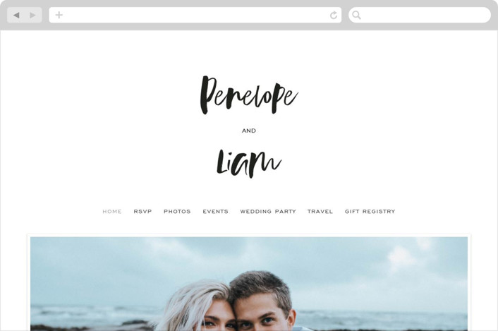 This is a black and white wedding website by Design Lotus called Love Actually printing on digital paper.