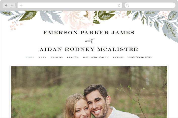 """Peony Floral Frame"" - Wedding Websites in Cornflower by Alethea and Ruth."
