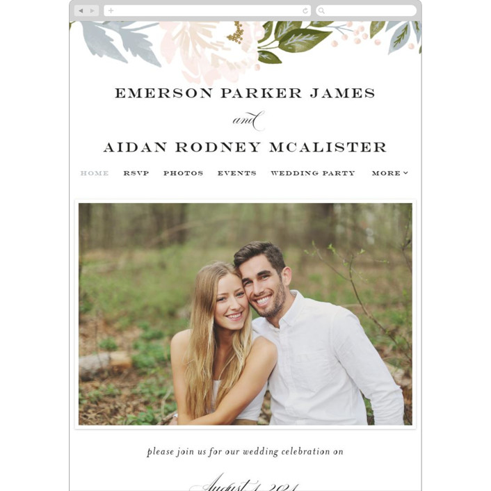 """""""Peony Floral Frame"""" - Wedding Websites in Cornflower by Alethea and Ruth."""