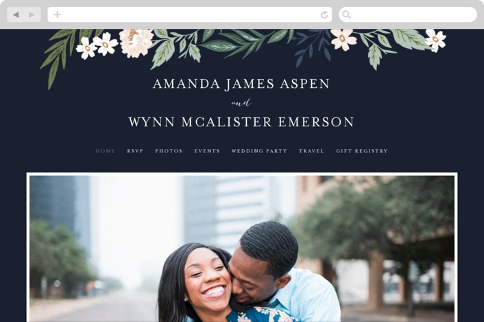 This is a blue wedding website by Alethea and Ruth called Floral Edged Frame printing on digital paper.