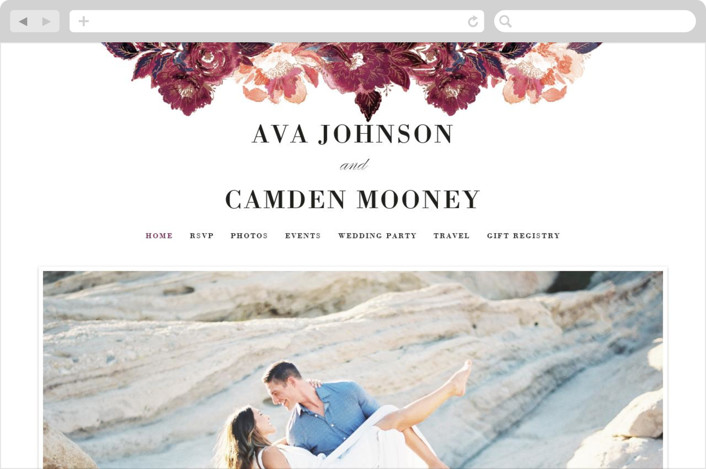 """""""Painted Peony Corners"""" - Wedding Websites in Burnt Rose by Alethea and Ruth."""