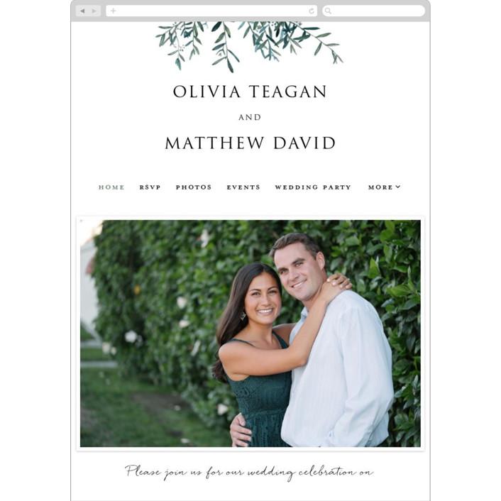 """Fresh Sage"" - Wedding Websites in Olive by Christie Kelly."