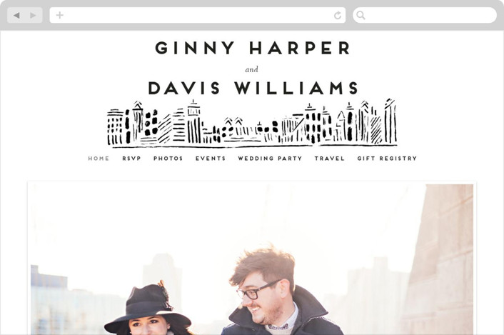 This is a black and white wedding website by Shiny Penny Studio called Love In The City printing on digital paper.