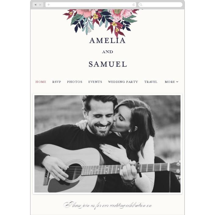 """""""Vintage Boughs"""" - Wedding Websites in Merlot by Grace Kreinbrink."""