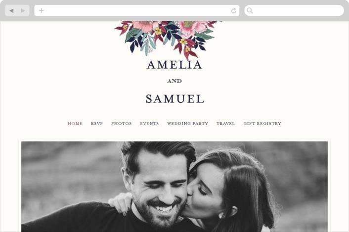 This is a colorful wedding website by Grace Kreinbrink called Vintage Boughs printing on digital paper.