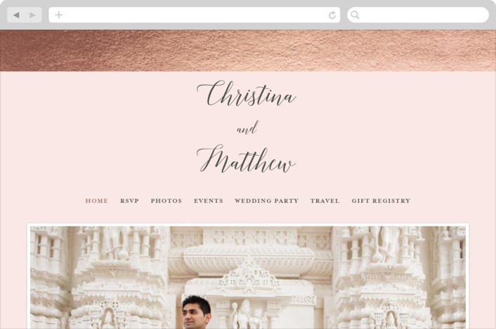 This is a pink wedding website by Genna Cowsert called Spruce printing on digital paper.