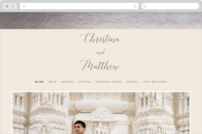 This is a beige wedding website by Genna Cowsert called Spruce printing on digital paper.