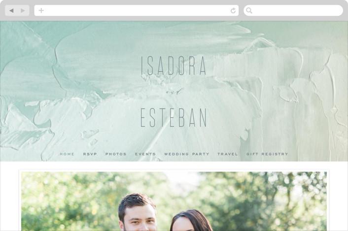 """""""Painted Sea"""" - Wedding Websites in Seafoam by Hooray Creative."""